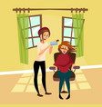 hairdresser woman drying hair for her client with vector image vector image
