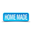 home made blue 3d realistic square isolated button vector image vector image