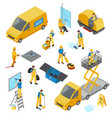 isometric industrial cleaning icon set vector image vector image