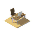 isometric office workplace beige brown vector image