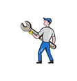 Mechanic Carrying Giant Spanner Cartoon vector image vector image