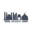 mexico travel landmarks silhouette vector image