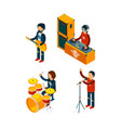 music entertainment isometric singer rock vector image vector image