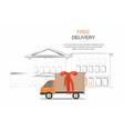 orange delivery van on city background vector image vector image