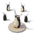 penguin with reindeer antlers vector image vector image