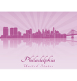 Philadelphia skyline in purple radiant orchid vector image vector image