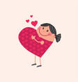 pregnant mother in love in heart shape vector image