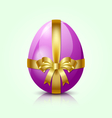 purple easter egg with golden ribbon vector image vector image