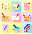 scribe icons set cartoon style vector image vector image