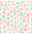 seamless pattern with winter elements in doodle vector image vector image