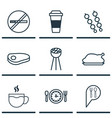 set of 9 meal icons includes chicken fry stop vector image vector image