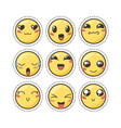 Set of cute lovely kawaii emoticon sticker