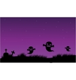 Silhouette of ghost and tomb halloween vector image vector image