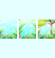 summertime greenery leaves and grass background vector image vector image
