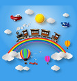 sunlight on cloud with transport and vehicles vector image vector image