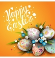 Template with Easter eggs and flowers vector image