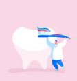 tiny dentist doctor character care huge tooth vector image
