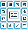 trade icons set with hierarchy envelope vector image