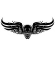 winged evil black skull on a white background vector image vector image