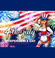 woman salute firework with usa flag july 4th vector image