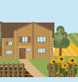 wood house or farm sunflowers landscape vector image vector image