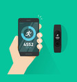 wrist band bracelet with run activity and fitness vector image