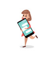 young woman running with giant smartphone vector image