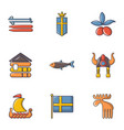 sweden icons set cartoon style vector image
