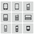 black mobile phone icons set vector image