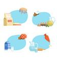 cooking ingridients or groceries stickers vector image