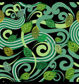 abstract green leaves seamless pattern vector image vector image
