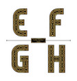 alphabet celtic golden style in a set efgh vector image