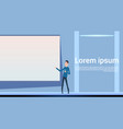 asian man presenting meeting stand at empty board vector image