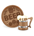 Barrel of Beer and Wooden Mug vector image vector image