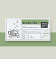 black green tea design package template vector image