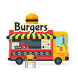 burgers food truck street meal vehicle fast food vector image vector image