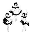 Cabaret dancer silhouettes set vector image vector image