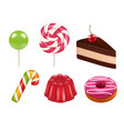 candy realistic pictures caramel and chocolate vector image