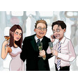 cartoon men and woman drink at corporate vector image vector image
