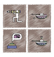 collection of flat shading style icons war gagets vector image vector image