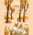 cozy season hand drawn greeting card vector image vector image