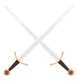 Crossed templar swords vector image vector image