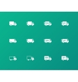 Delivery Trucks icons on green background vector image vector image