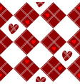 Diamond Chessboard Red Heart Valentine vector image
