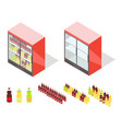 drinks in groceries showcase isometric vector image vector image