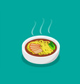 egg noodle soup with roast pork and soup in 3d vector image