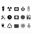 electricity and power icons set vector image vector image