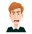 face expression of a man with blond hair - angry vector image