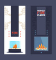 fireplace vertical banner modern home decoration vector image