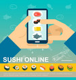 flat online japanese food delivery template vector image vector image